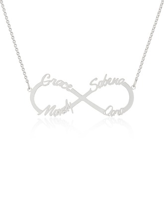 Custom Sterling Silver Infinity Four Name Necklace Infinity Name Necklace - Birthday Gifts Mother's Day Gifts