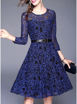 Lace With Lace/Stitching/Embroidery/Hollow Knee Length Dress