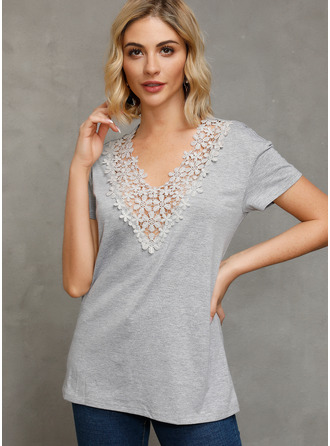 Short Sleeves Lace V Neck Ticot Bluzlar