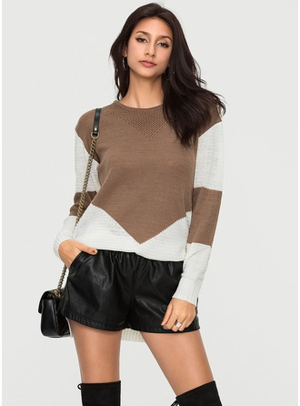 Color Block Polyester round Neck Gensere Gensere