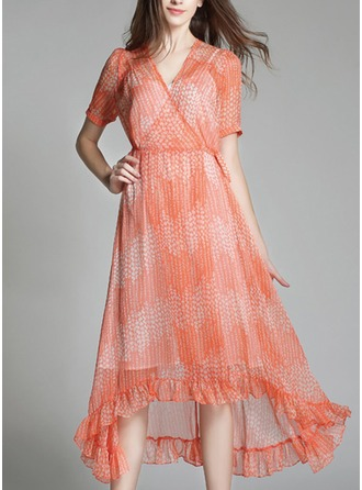 Chiffon With Print Knee Length Dress (Two Pieces )