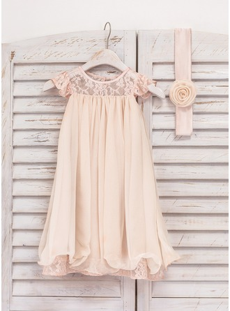 A-Line/Princess Knee-length Flower Girl Dress - Chiffon/Lace Short Sleeves Scoop Neck With Flower(s)