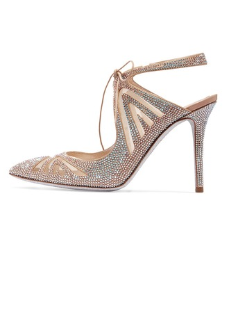Women's Leatherette Stiletto Heel Pumps With Rhinestone Jewelry Heel Lace-up