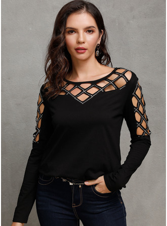 Long Sleeves Polyester Round Neck Knit Blouses