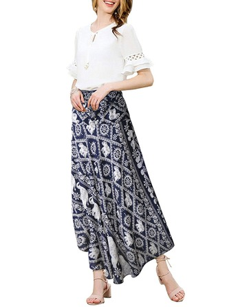 Cotton Print Maxi A-Line Skirts