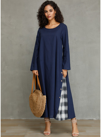 Polyester med Button/Rutete Maxi Kle