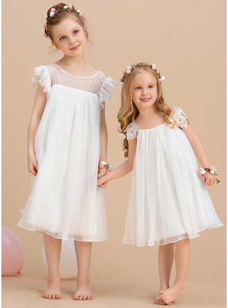 Knee-length Flower Girl Dress - Chiffon Short Sleeves Scoop Neck