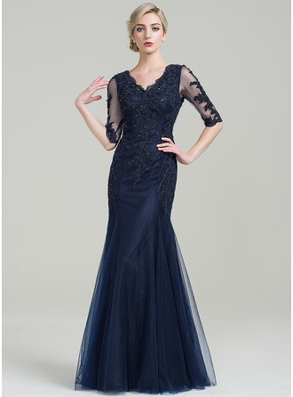 Trumpet/Mermaid V-neck Floor-Length Tulle Mother of the Bride Dress