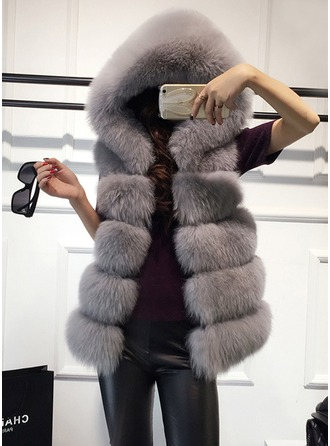 Faux Fur Sleeveless Plain Vest ()