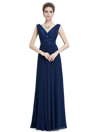 Polyester/Chiffon With Beaded/Appliques Maxi Dress