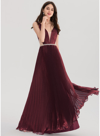 V-neck Floor-Length voile Prom Dresses