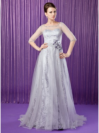 A-Line/Princess Scoop Neck Sweep Train Tulle Lace Mother of the Bride Dress With Beading Flower(s) Sequins