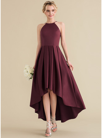Scoop Neck Asymmetrical Satin Prom Dresses With Ruffle