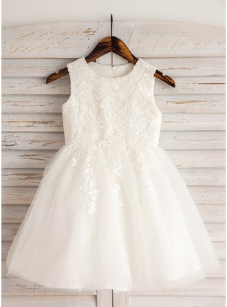 Knee-length Flower Girl Dress - Satin Tulle Lace Cotton Sleeveless Scoop Neck With Appliques
