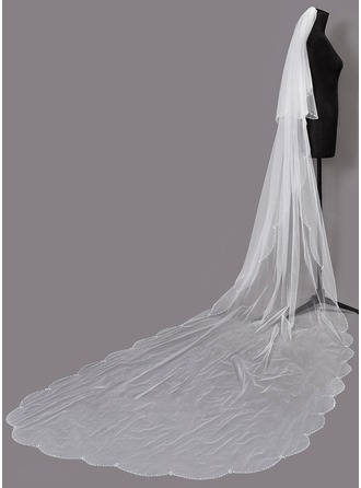 Two-tier Beaded Edge Chapel Bridal Veils With Beading