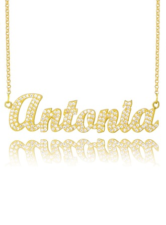 Personalized 18k Gold Plated Silver Plate Name Necklace