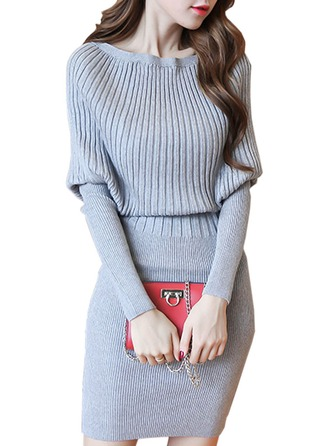 Plain Knit Round Neck Sweater Sweaters