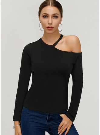 Long Sleeves Cotton One Shoulder Knit Blouses
