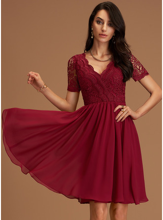 V-Neck Short Sleeves Midi Dresses