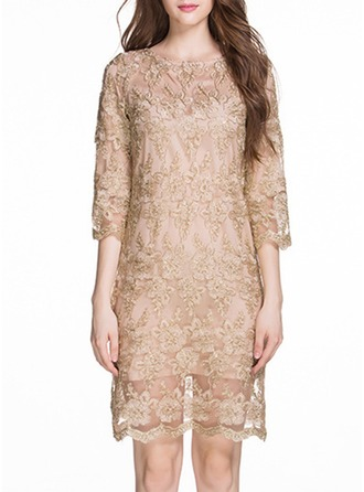 Lace With Stitching/Embroidery/Resin solid color Above Knee Dress