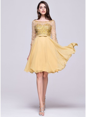 A-Line/Princess Off-the-Shoulder Knee-Length Chiffon Homecoming Dress With Beading Sequins Bow(s)