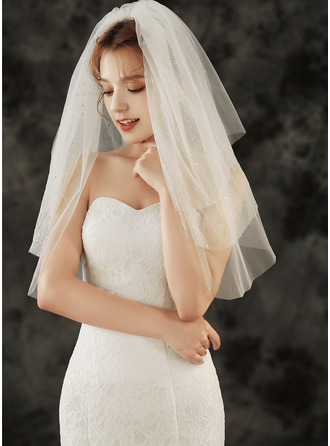 Three-tier Cut Edge Elbow Bridal Veils With Rhinestones