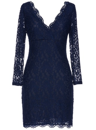 Lace With Lace Knee Length Dress