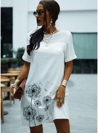 Print Shift Round Neck Short Sleeves Midi Casual Tunic Dresses