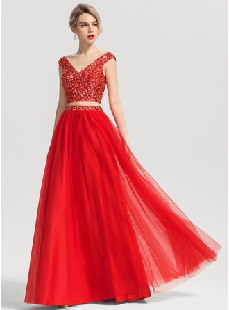 V-neck Floor-Length Tulle Prom Dresses With Beading Sequins