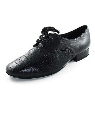 Men's Real Leather Flats Ballroom With Lace-up Dance Shoes