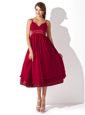 Empire Sweetheart Knee-Length Chiffon Chiffon Maternity Bridesmaid Dress With Ruffle