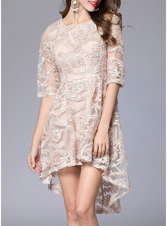 Polyester With Embroidery Asymmetrical Dress