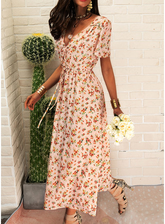 Floral Print A-line V-Neck Short Sleeves Midi Boho Casual Vacation Skater Wrap Dresses