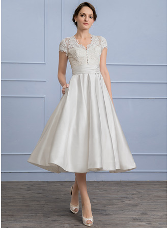 V-neck Tea-Length Satin Wedding Dress With Ruffle Pockets