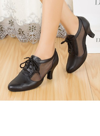 Women's Leatherette Heels Practice With Lace-up Dance Shoes