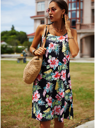 Floral Print Shift Spaghetti Straps Sleeveless Midi Casual Vacation Type Dresses