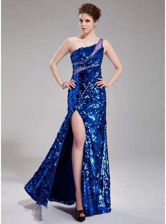 Sheath/Column One-Shoulder Floor-Length Tulle Sequined Prom Dress With Beading Split Front