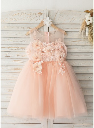 Knee-length Flower Girl Dress - Tulle Lace Sleeveless Scoop Neck