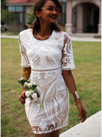 Lace Solid Round Neck 1/2 Sleeves Midi Dresses