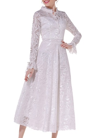 Lace mit Lace/Resin einfarbig Maxi Kleid