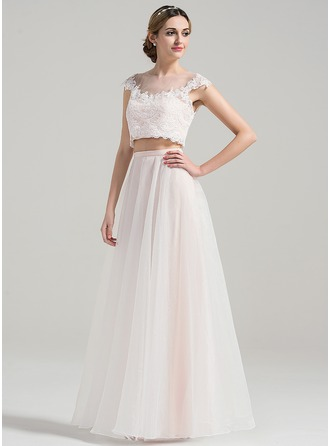 A-Line/Princess Scoop Neck Floor-Length Organza Lace Wedding Dress