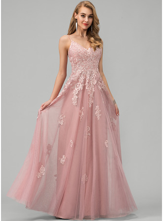 V-neck Floor-Length Tulle Prom Dresses With Lace