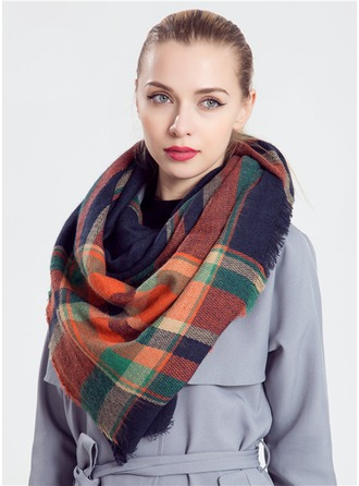Plaid Oversized/Cold weather Acrylic/Artificial Wool Poncho