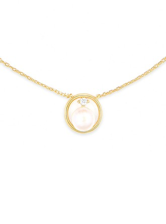 Silver Pearl/Beaded Cubic Zirconia Circle Pearl Necklace For Women For Mother/Mom