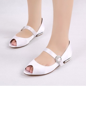 Women's Silk Like Satin Low Heel Flats Peep Toe MaryJane