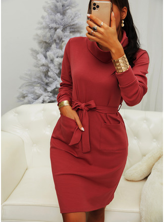 Solid Bodycon High Neck Long Sleeves Midi Casual Dresses
