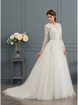 Ball-Gown Scoop Neck Chapel Train Tulle Wedding Dress With Beading Sequins