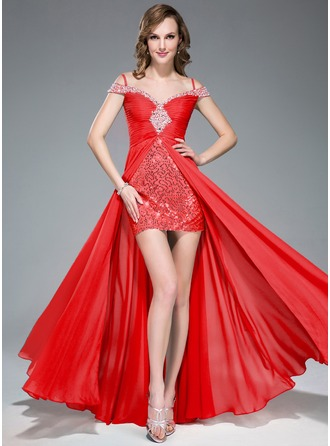 A-Line/Princess Off-the-Shoulder Floor-Length Chiffon Sequined Prom Dress With Ruffle Beading Split Front
