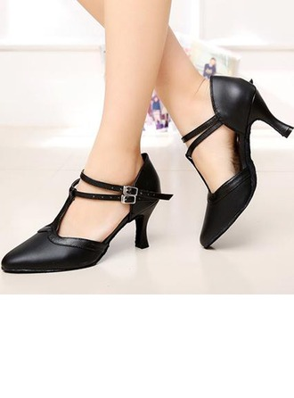 Women's Real Leather Pumps Ballroom Character Shoes With T-Strap Dance Shoes