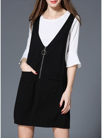Polyester/Cotton With Stitching Above Knee Dress (Two Pieces )